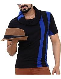 Seven Rocks Men's Muffler Neck Cotton Black Tshirt
