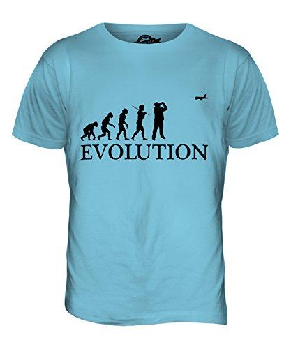 CandyMix Aereo Evoluzione Umana T-Shirt da Uomo Maglietta Azzurro Cielo
