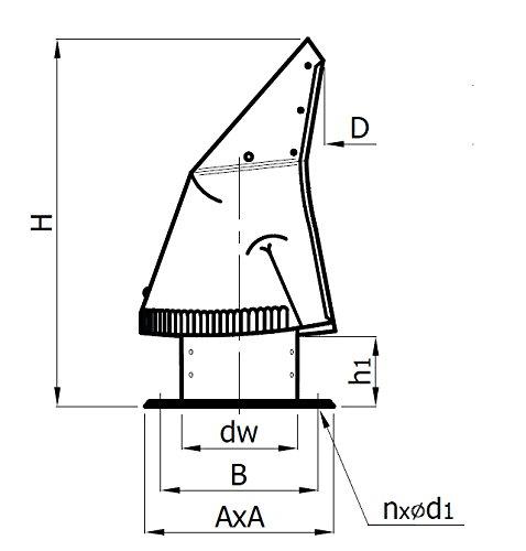 Acier Cheminée Rotowent Base carrée 150mm ococ