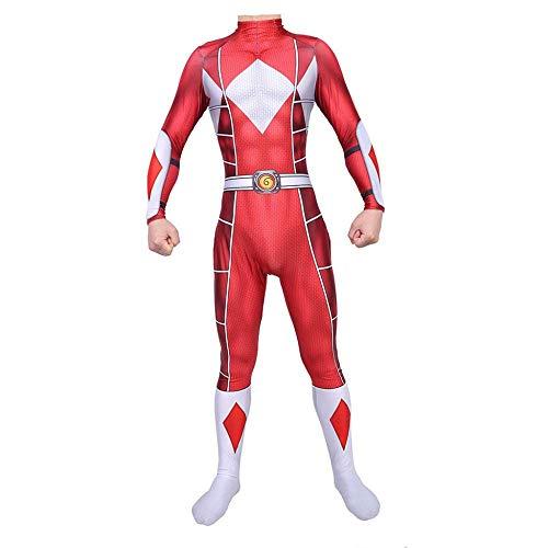 Power Für Echte Ranger Kostüm Erwachsene - JHDUID Erwachsene Cosplay Kostüm Power Ranger Overall Overall Partykleid Lycra Strumpfhose Halloween Weihnachten Performance Show,Rot,L
