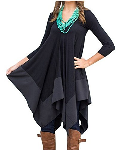 Womens Asymmetrical Casual Feminine Long Sleeve Tunic Shirt Dress