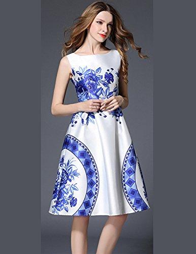 MODETREND Damen Casualkleid mit Blüte Drucken A-Linie Sommerkleid ohne Arm Rundkragen Abendkleid Westekleid Partykleid Cocktailkleid Blau