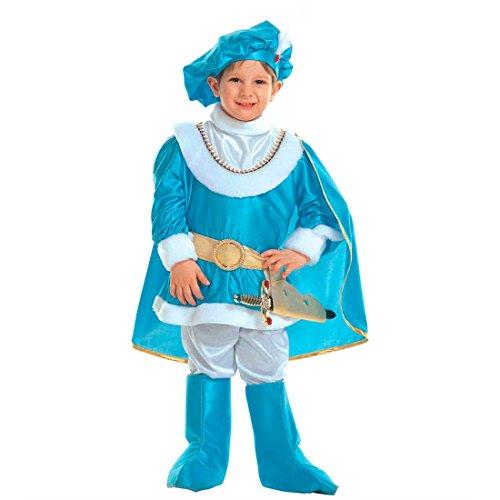 NET TOYS Costume de Prince Bleu Roi Déguisement Pour Enfant Noble Petit Prince de Conte de Fée Déguisement Pour Garçon Enfant Costume de Carnaval Aristocrate 110 cm / 4 ans