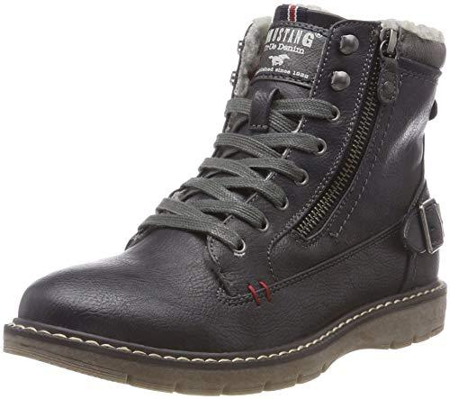 MUSTANG Unisex-Kinder Schnür-Booty Klassische Stiefel Blau (Navy 820) 37 EU