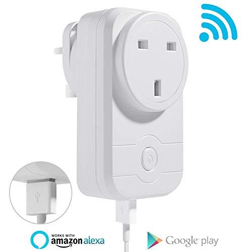 Nexgadget Smart Plug Wifi Socket prise de courant avec port USB, synchronisation Switch, Contrôlez vos appareils à partir de n'importe où, n'hub Required-works avec Amazon Alexa, Google Assistant et Ifttt (13A/3500W) 1pack