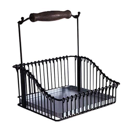 Cesta de almacenamiento de cocina colgante, cesta de almacenamiento de metal con asa, para cocina, oficina, despensa, baño, armario