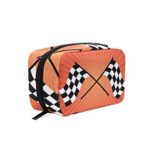tizorax Zwei Finish Checker Flaggen gekreuzt auf Orange Sunrays Praktische Kosmetik Tasche Kupplung Make-up-Tasche Organizer Reisetasche Orange Checker