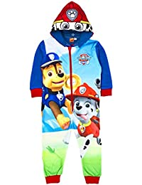 Paw Patrol Chase & Marshall Offiziell Jungen Einteiler Mit Kapuze Schlafanzug