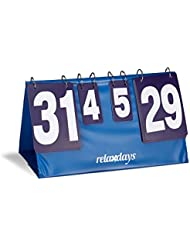 Relaxdays Tableau de score tennis de table ping pong hxlxP: 25,7 x 48,6 x 25,5 cm résultat manuel sport collectif badminton volley, bleu