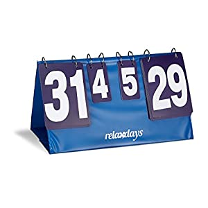 Relaxdays Zähltafel Tischtennis mit Tragetasche, große Zahlen, Punkte- und Satzanzeige, HBT: 25,7 x 48,6 x 25,5 cm, blau