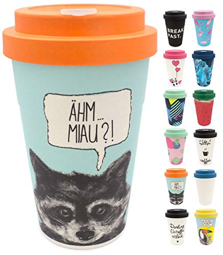 Image of holi. Coffee-to-Go Bambus-Becher mit Schraubdeckel | nachhaltiger Kaffeebecher mit Verschluss | Mehrweg-Becher Bamboo-Cup | Woodcup, lebensmittelecht, spülmaschinenfest (Sneaky Raccoon)