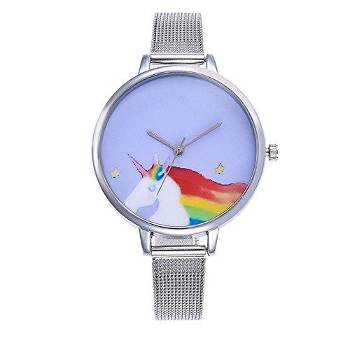 Souarts Damen Armbanduhr Einfach Mesh Metallarmband Flamingo Ananas Einhorn Regenbogen Casual Analoge Quarz Uhr Silber Farbe Einhorn Mädchen Uhr (Siber 4)