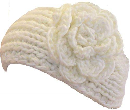 Damen Strick Stirnband Haarband Ohrenwärmer Ohrenschützer Headband mit Blüte