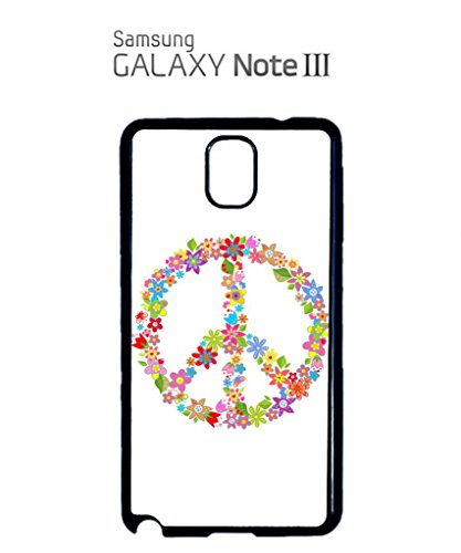 Peace Sign Flower Summer Cool Funny Hipster Swag Mobile Phone Case Back Cover Coque Housse Etui Noir Blanc pour Samsung Note 3 Black Blanc