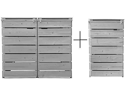 Mülltonnenbox Mülltonnenverkleidung Holz 120 L - 240 L hell-grau inkl. Rückwand vorimrägniert vormontiert Mod. Alster Müllcontainer Mülltonnenschrank Mülltonne Mülltonnenabtrennung (3 Tonnen)