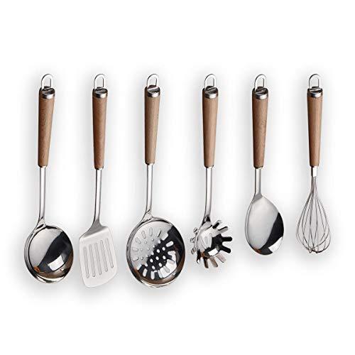 Berglander Acciaio inossidabile Manico in legno Set di utensili da cucina, Mestolo, Cucchiaio, Scrematrice, Frullino per uova, Giradadi, Server per pasta 6 pezzi.