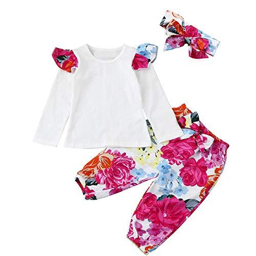 ggudd Baby Mädchen Fliegen Lange Ärmel T-Shirt Blumen Hosen Bowknot Stirnbänder 3 Stücke ekleidungssets (Weiß,6-12 Monate) -