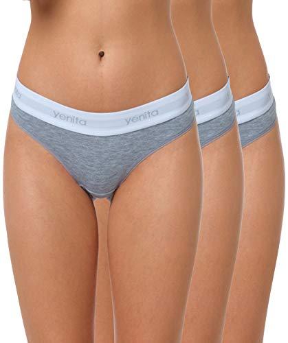 Yenita 3er Set Damen Underwear Modern-Sports-Collection, String, Grau, Gr. M