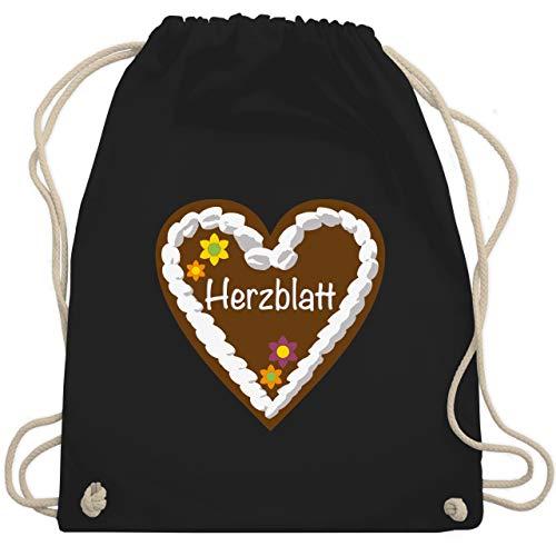 chenherz Herzblatt - Unisize - Schwarz - WM110 - Turnbeutel & Gym Bag ()