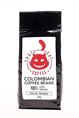 Crazy Cat Colombian Coffee Beans, Non Bitter, Medium Strength 3, Arabica Coffee, Full Fresh Flavour, Roasted to Perfection 250g