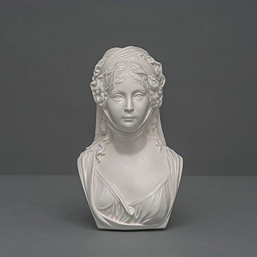 Königin Luise Skulptur aus hochwertigem Zellan, echte Handarbeit Made in Germany, Büste in weiß, 18cm