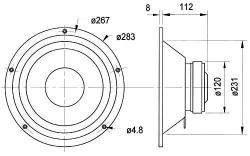 'Visaton VS-W250S/4-Lautsprecher (25,4cm (10), 25cm, Papier, 100W, 150W, 34-5500Hz) schwarz