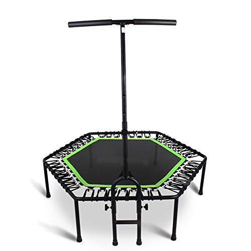 HWshop Trampolín Hexagonal con Barra de Estabilidad Ajustable en Forma de T Adulto Mini Fitness Trampoline...