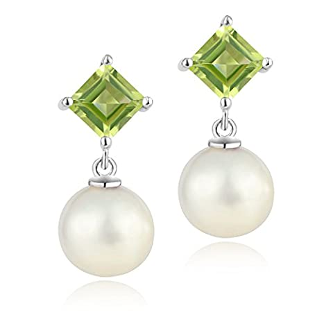 Dormith® 1.30 Carats Natural Peridot AAAA perfect circle freshwater Pearl drop earrings for women