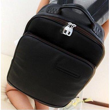 Frauen Laptop Tasche PU All Seasons Casual Runde Reißverschluss Dunkelbraun Camel Schwarz Weiß Black