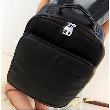 Frauen Laptop Tasche PU All Seasons Casual Runde Reißverschluss Dunkelbraun Camel Schwarz Weiß Dark Brown