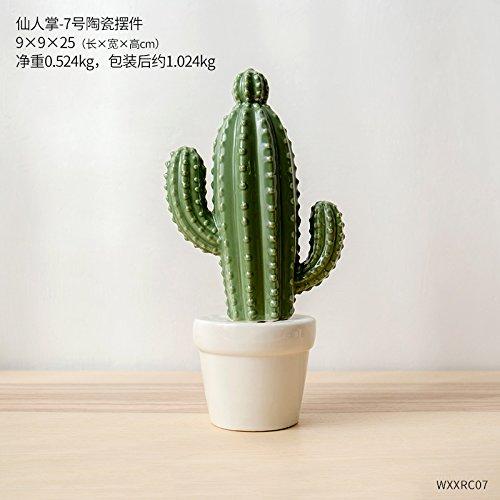 WANG-shunlida Unechte Blumen Amerikanische kreative Keramik Cactus kleinen Ornamenten Heimtextilien Schmuck Schlafzimmer Schreibtisch Ornamente TV-Schrank, 25 cm Kaktus -