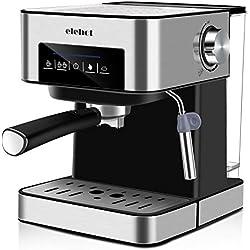 Machine à Café Espresso Cafetiere Italienne Automatique 15 Bars avec Mousseur à Lait pour Espresso Cappuccino et Latte ELEHOT
