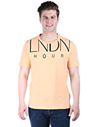 LNDN HOUR Half Sleeves New Stylish Shoulder Print Round Neck Cotton Tshirt, Latest High Quality Fashion Garments For Mens / Boys. Light Weight Yellow Colour