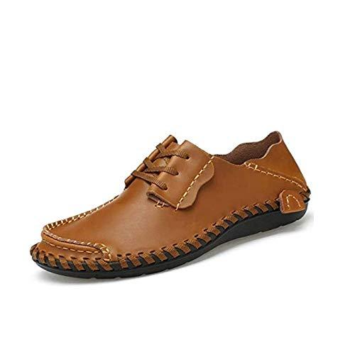 Leanax I Nuovi Uomini Cool Leather Shoes Scarpe Da Barca Fashion Wide Fit Lace-up Dual Purpose Vera Pelle Punta Rotonda Processo Di Cucitura Loafer Casual Traspirante Padre Trend Scarpa For Walking Wo