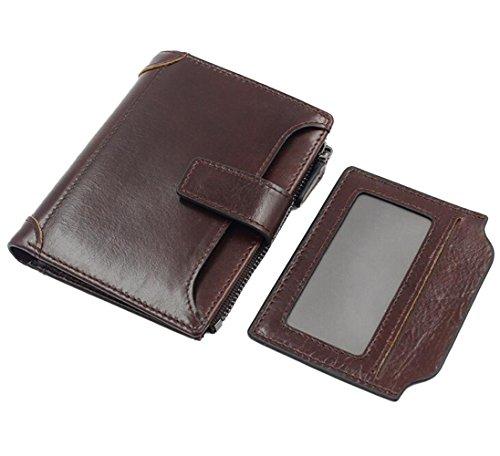 [DEMEDO] Handgefertigte Leder Flip Wallet, (Short Wallet Series) Karten, Bargeld, Münze und Bild sind alle kompatibel. - Kaffee Kaffee