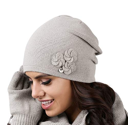 Kamea Crema Damen Mütze Wintermütze Kopfbedeckung, Mütze:grau