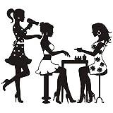 Imperméable à l'eau de Coupe de Cheveux Filles Salon de Beauté Barbershop Mue Sticker Fond Décoratif(L)...