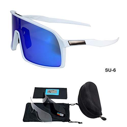 WLCLJJ Sonnenbrille 3 Objektiv UV400 Radfahren Brillen Männer Frauen Mountainbike Fahrrad Fahrrad Sonnenbrille MTB Sport Jaw Breakers Radfahren Brille (Color : SU6)