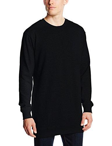 Urban Classics Herren Sweatshirt Long Light Fleece Crewneck Schwarz (Black 7)