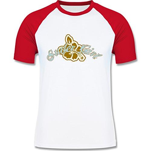Wassersport - Surfer Girl - zweifarbiges Baseballshirt für Männer Weiß/Rot