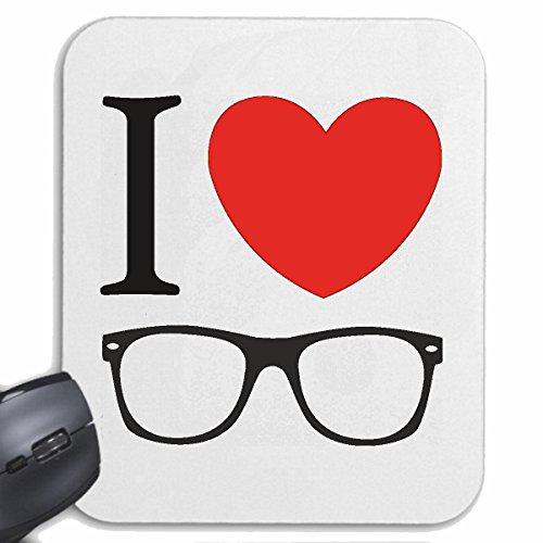 Reifen-Markt Mousepad (Mauspad) I Love Brille ICH Liebe Brillen Geek Brille Nerd Brille BRILLENGLÄSER BRILLENFASSUNG NERDBRILLE GEEKBRILLE BRILLENGESTELL für ihren Laptop, Notebook oder Internet PC (