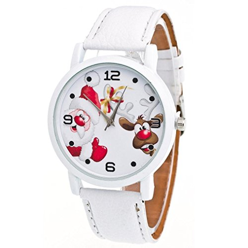 Zolimx Weihnachten Ältere Muster Lederband Uhren (Weiß) (Starker Mann Kostüm Für Kleinkind)