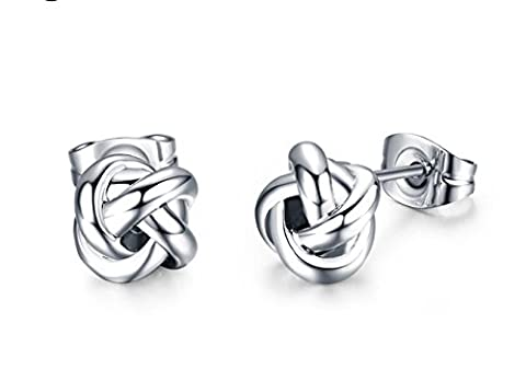 Silver Knot Fashion Stud Earrings For Pierced Ears with Silver Butterfly Backs & presentation box