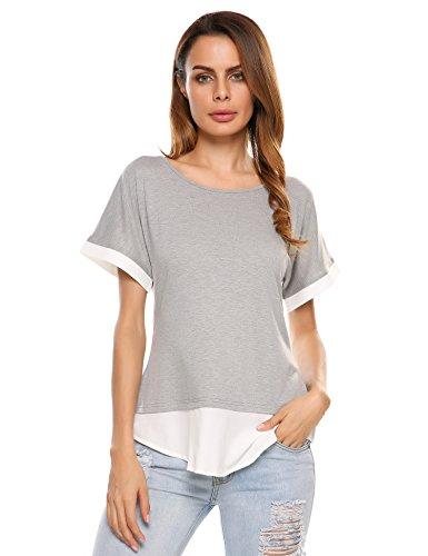 Meaneor Damen Sommer T-Shirt Bluseshirt Shirt Top Mit Blockstreifen am Saum Kurzarm Freizeit Baumwolle