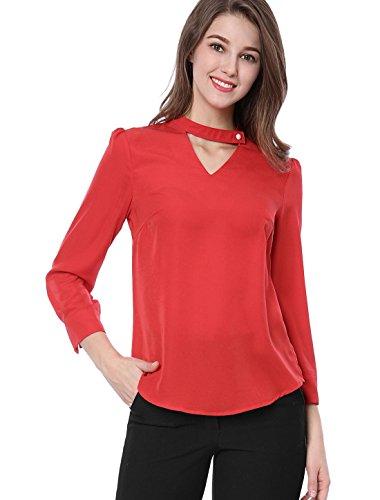 Allegra K Damen Perle Knopf Choker ausgeschnittet V-Hals 3/4 Ärmel Bluse Tops Rot L(EU 44)
