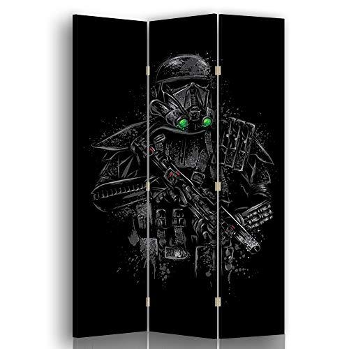 carowall CAROWALL.COM Spanische Wand Abstract 3-teilig drehbar 360 Grad Soldat Schwarz 110x175 cm