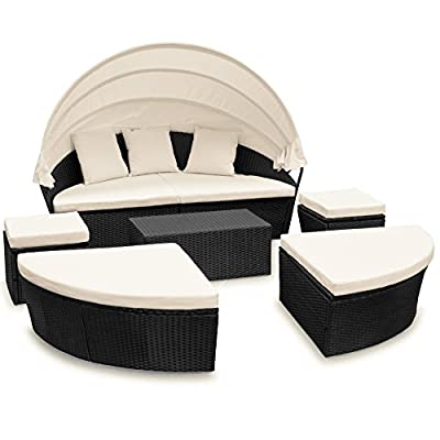 Poly Rattan Garden Furniture Day Bed ? Model and Colour Choice ? White Hinged Retractable Canopy ? Round Sofa ? Outdoor Sun Lounger w/ strong Seat Cushions ? - cheap UK light shop.