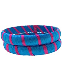 SURATNA Designer Handmade Traditional Wear Multi Color Silk Thread Bangle 2 Pc Set For Girls & Women Pink & Blue...