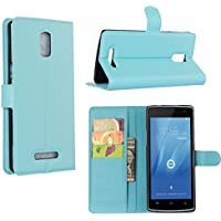 Guran® Leather Case for Doogee Kissme DG580 Smartphone Flip Cover Standing Function and Card Slot Mobile Case--blue