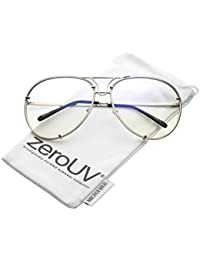 ed668f7044 zeroUV - Oversize Rimless Unique Nose Piece Clear Lens Aviator Glasses 67mm  (Silver   Clear
